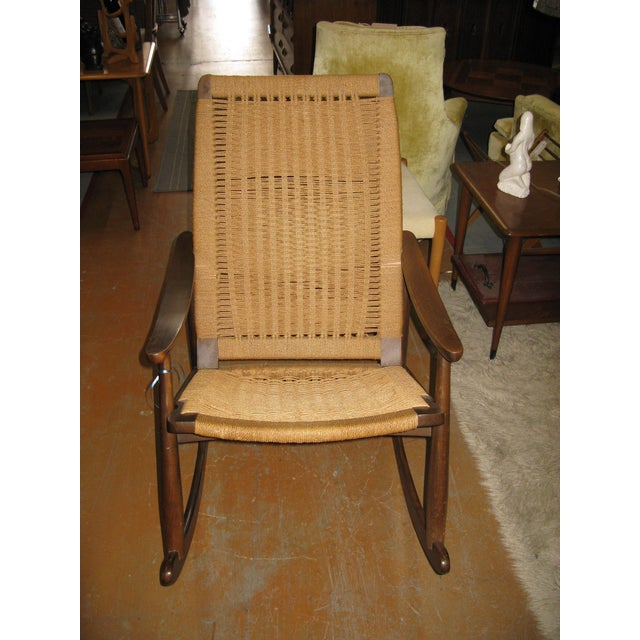 Hans Wegner Style Rope Rocking Chair - Image 7 of 8
