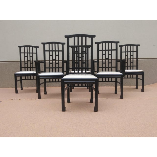 Charles Rennie Mackintosh Style Black Lacquer Asian Flare Chinese Chippendale Fretwork - Set of 6 Dining Chairs For Sale - Image 13 of 13