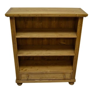 Antique Pine Bookcase With Drawer For Sale