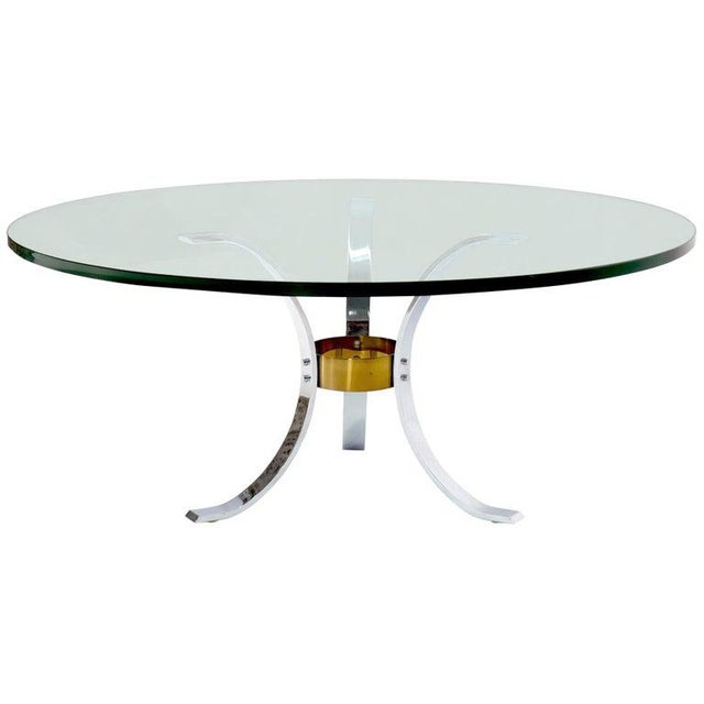 "Heavy Thick 3/4"" Glass Round Top Chrome & Brass Tripod Base Coffee Table For Sale - Image 12 of 12"
