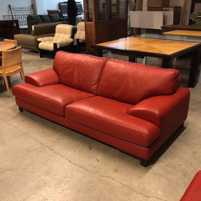 Roche Bobois Red Leather Sofa   Chairish