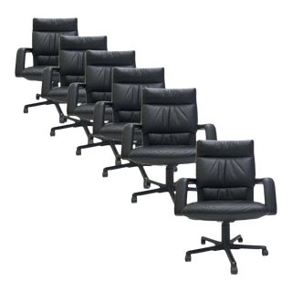 8 Mario Bellini for Vitra Black Leather Swivel and Tilt Executive Desk Office Chair For Sale