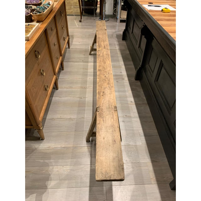 Antique French Long Primitive Bench For Sale - Image 11 of 12