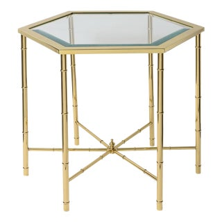 Mastercraft Mid-Century Polished Brass Side Table For Sale