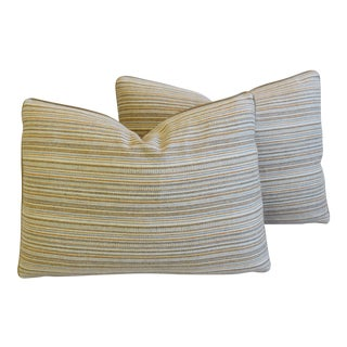 "Scottish Hodsoll McKenzie Lambs Wool Stripe & Leather Feather/Down Pillows 22"" X 16"" - Pair For Sale"