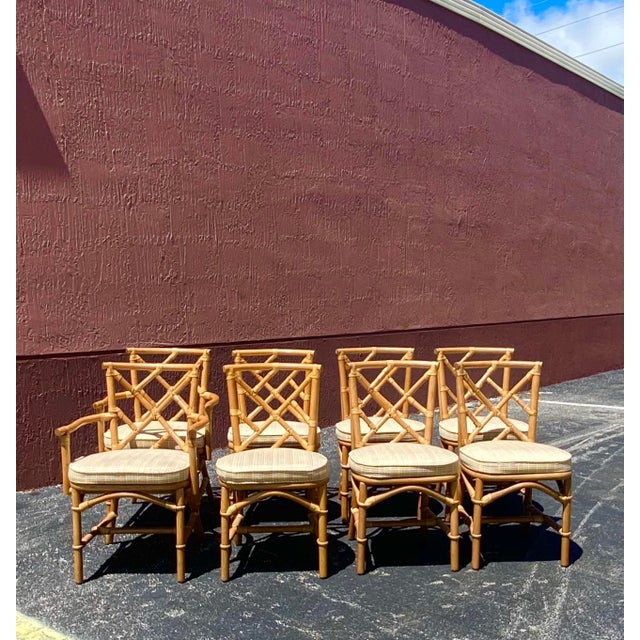 Vintage Coastal Ficks Reed Chinese Chippendale Bamboo Dining Chairs - Set of 8 For Sale - Image 9 of 13