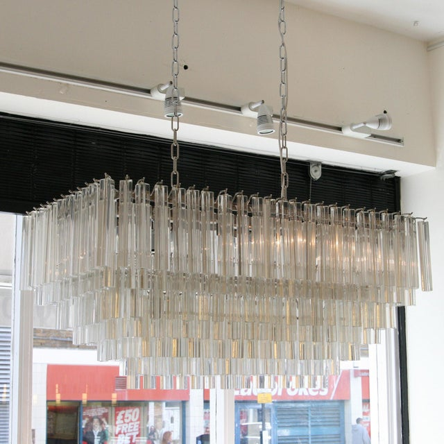 Venini Venini Triedri Rectangular Chandelier For Sale - Image 4 of 6