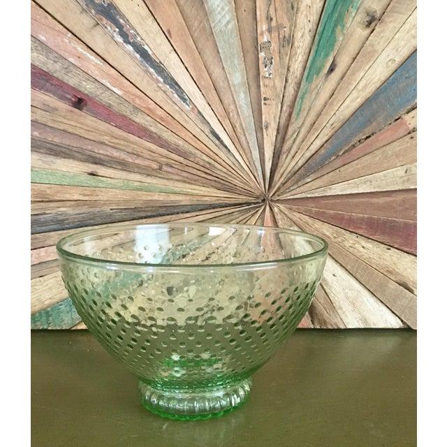 Green Depression Glass Hobnail Serving Bowl - Image 2 of 5