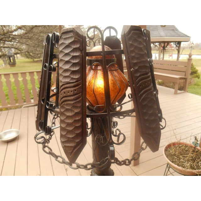 Antique Wrought Iron Barley Twist Floor Lamp For Sale - Image 5 of 7