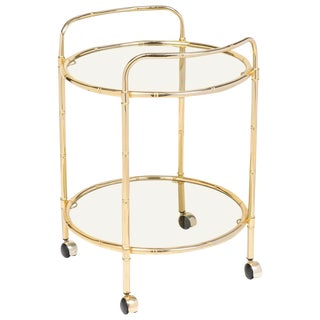 Mid-Century French Brass Faux Bamboo Maison Baguès Bar Cart For Sale