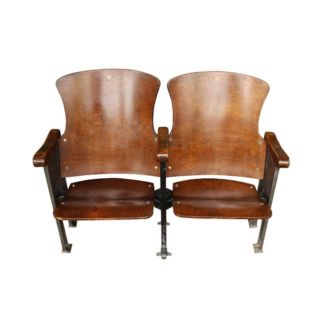 Salvaged Folding Wood Theater Chairs - Pair - Image 2 of 5