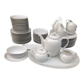 Mid 20th Century Modern White Coupe Dinnerware - Set of 72 For Sale