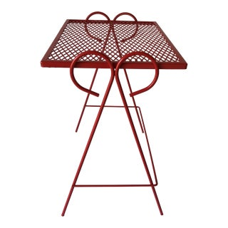 Midcentury Modern Iron Patio Tray Table Painted Red For Sale