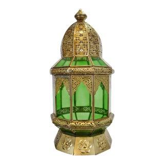 Moorish Brass & Green Glass Lantern For Sale