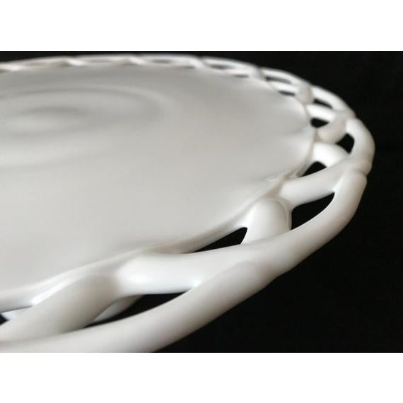 1950s Pitman-Drietzer Colony Lace Edge Milk Glass Cake Stand For Sale - Image 9 of 11