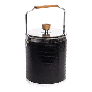 Vintage Faux Croc Embossed Ice Bucket For Sale