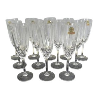 Vintage Mid Century Prima Vera DiCristallo Champagne Flutes Never Used - Set of 12 For Sale