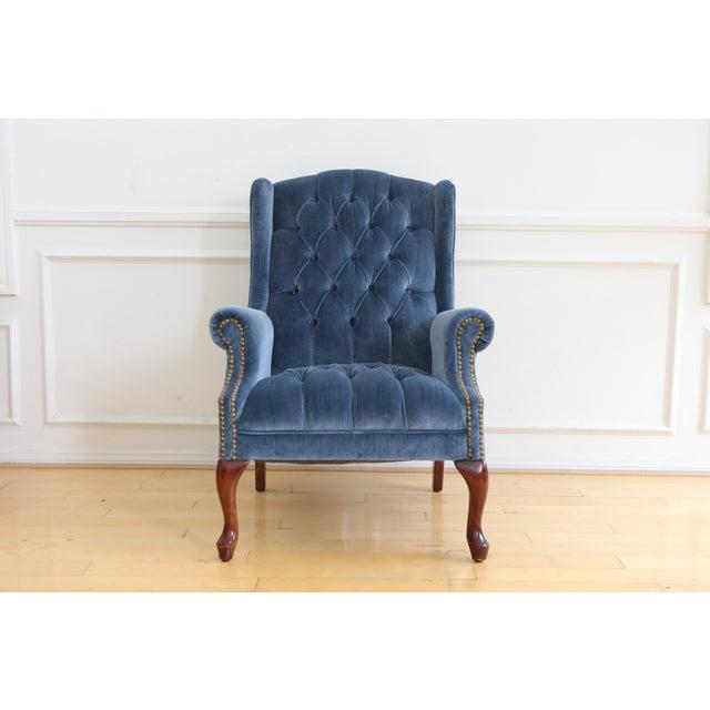Vintage Blue Navy Tufted Velvet Wingback Chair For Sale - Image 4 of 8