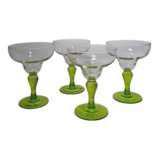 Vintage 1970s Clear and Spring Green Margarita Glasses - Set of 4 For Sale