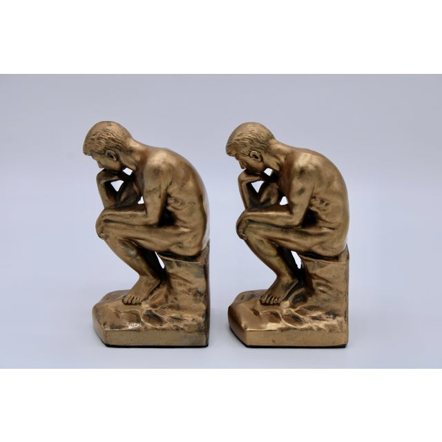 1920s 1928 Metallic Gold Thinking Man Bookends For Sale - Image 5 of 12
