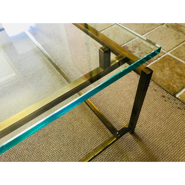 Brass Mid Century Coffee Table Brass and Glass Floating For Sale - Image 7 of 10
