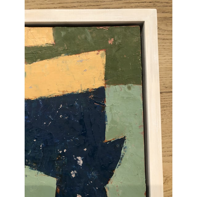 Mid-Century Danish Color Story on Board in Custom White Washed Floater Frame For Sale - Image 4 of 13