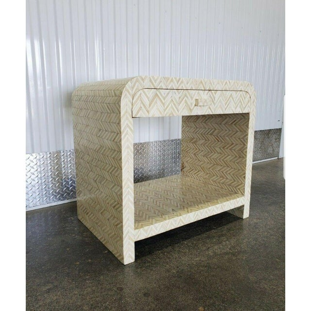 Modern 1970s Tessellated Bone Nightstand With Drawer For Sale - Image 3 of 13