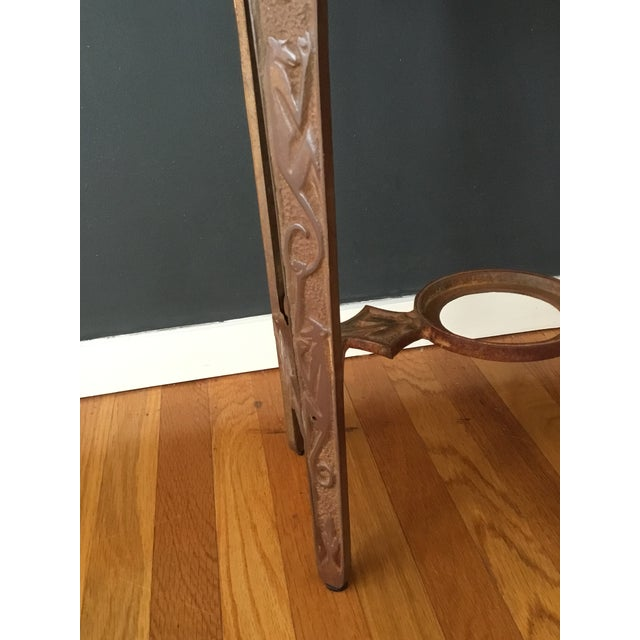 Art Deco Early 20th Century Art Deco Marble and Iron Side Table For Sale - Image 3 of 5