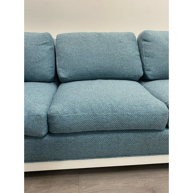 Modern Milo Baughman Sofa Newly Upholstered Blue Fabric W/ New White Lacquer For Sale - Image 3 of 8