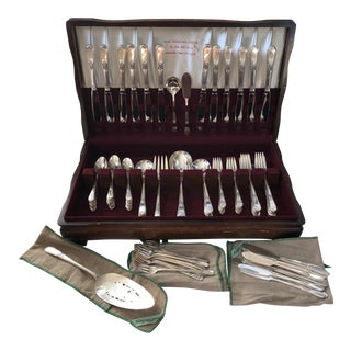 1847 Rogers Brothers Adoration Silver Set 7 Piece Service for 12 Serving Set - 103 Piece Set For Sale