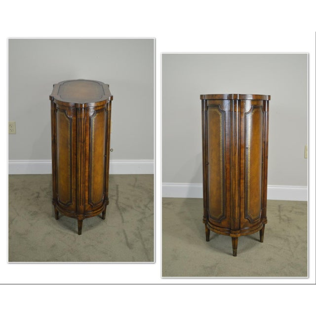 Hollywood Regency John Richards Regency Style Mahogany Leather Wrapped Console Cabinet For Sale - Image 3 of 12