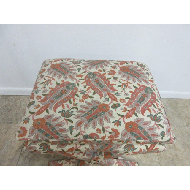 Custom Upholstered Ottoman Stool For Sale - Image 4 of 7