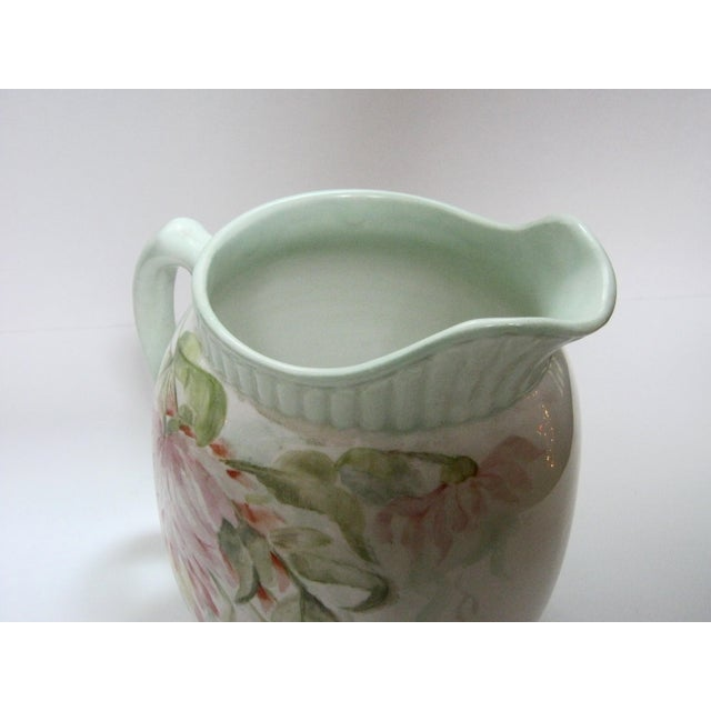 Antique Hand Painted Floral Pitcher For Sale - Image 4 of 7
