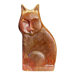 Large Vintage or Antique Folk Art Pottery Sewer Tile Type Cat Figure Sculpture For Sale