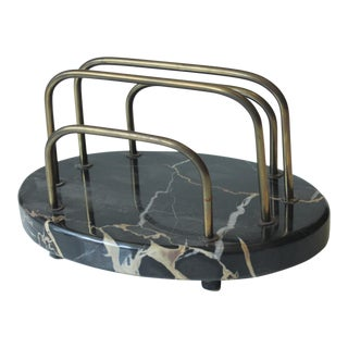 1930s Art Deco Marble and Brass Letter Holder For Sale