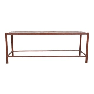 Industrial Chic Patinated Iron & Antique Rustic Reclaimed Wood Sofa or Console Table For Sale