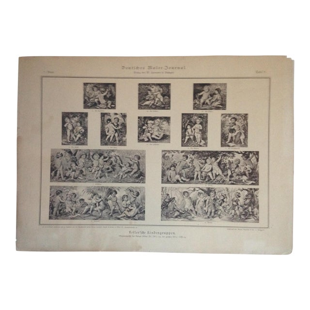 Vintage German Decorative Cherub Print For Sale