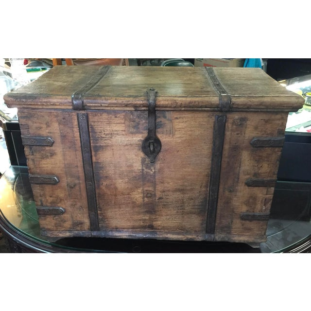 Brown Antique Strong Box With Iron Straps For Sale - Image 8 of 8
