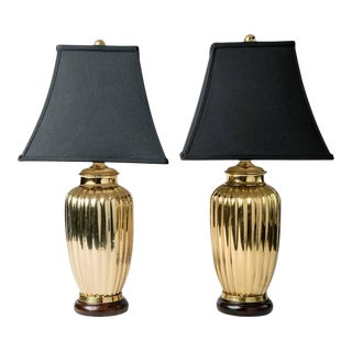 Art Deco Style Brass Table Lamps - a Pair