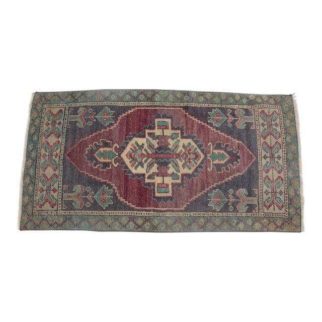1960s Vintage Turkish Handmade Rug - 1′8″ × 3′1″ For Sale