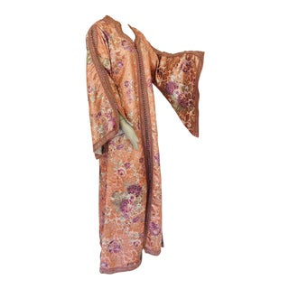 Moroccan Kaftan Orange and Purple Floral With Gold Embroidered Maxi Dress Caftan For Sale