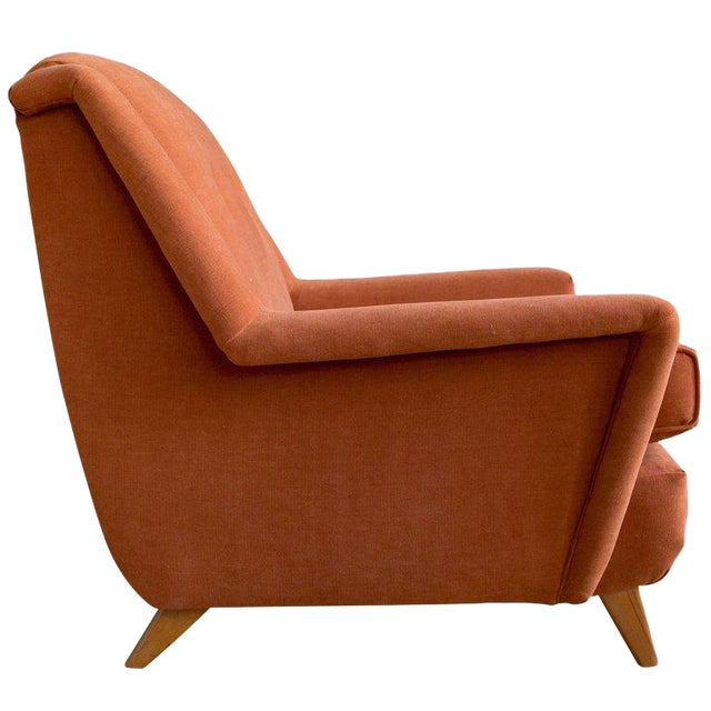 1950s Burnt Orange Upholstered Lounge Chair by Heywood Wakefield For Sale