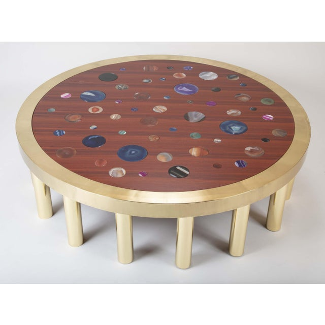 Large Agate Inlaid Sapelle and Brass Coffee Table For Sale In New York - Image 6 of 12