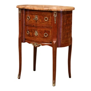 Mid-20th Century French Louis XV Walnut Commode Chest of Drawers With Marble Top For Sale