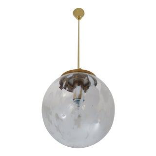 Mid Century Pendant in Brass and Art-Glass With White Streaks, Austria, 1960s For Sale
