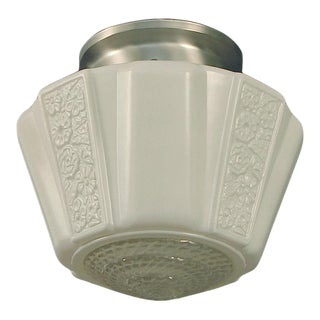 1930s Art Deco White and Clear Flush-Mount For Sale