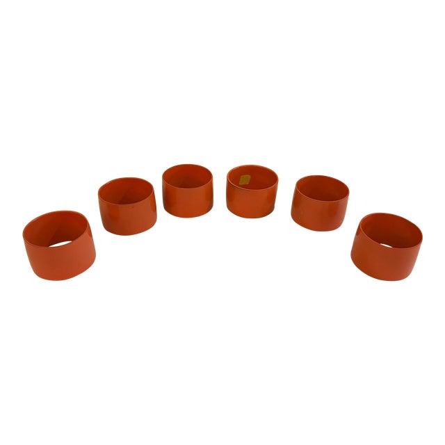 Mid-Century Modern Orange Napkin Rings - Set of 6 For Sale
