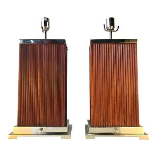 Pair of Chrome & Wood Table Lamps For Sale