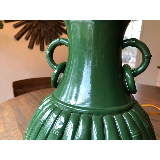 Green Green Faux Bamboo Lamp For Sale - Image 8 of 11