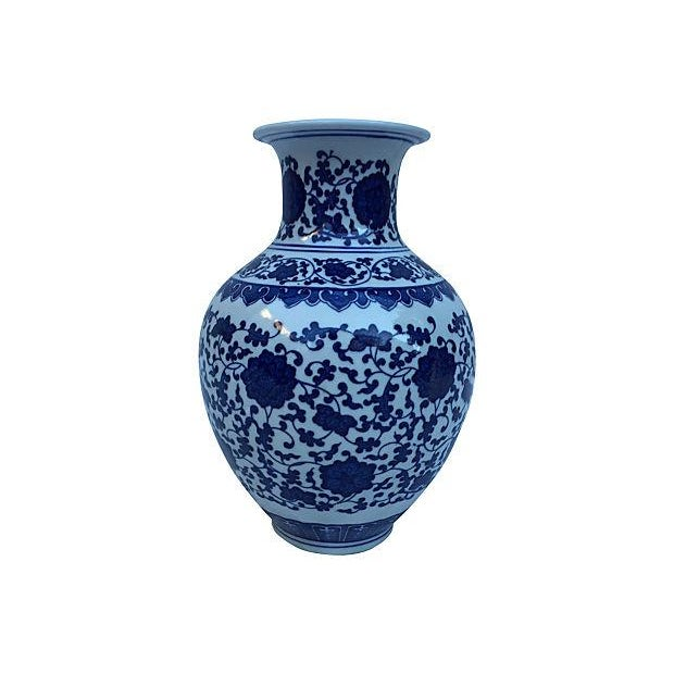 Blue & White Asian Floral Vase - Image 1 of 4